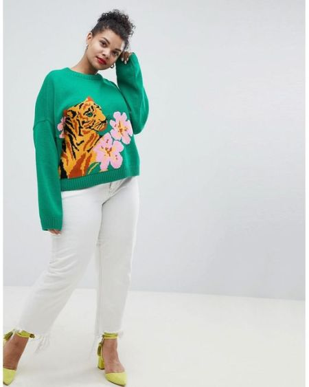 asos-Green-Asos-Design-Curve-Tiger-Sweater-With-Tropical-Flower